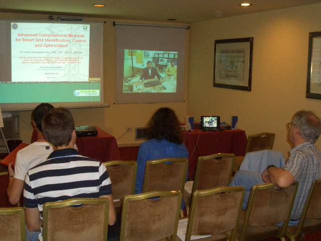 Dr. Venayagamoorthy presents the first tutorial via video conference in the history of the IEEE International Symposium on Industrial Electronics (ISIE) at the ISIE 2010, Bari, Italy.